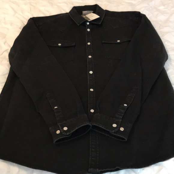 3f5808601c658 Black denim type styled snap shirt. NWT. ASOS
